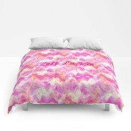 C'est La Vie - That's Life French Typography, Feminine Pretty Pink Pattern Ikat Chevron Pastel Art Comforters
