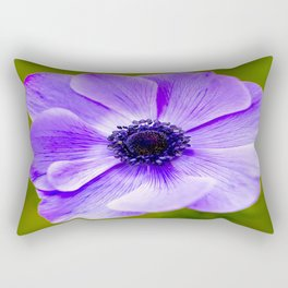 Purple Anemone Natural Green Background Rectangular Pillow