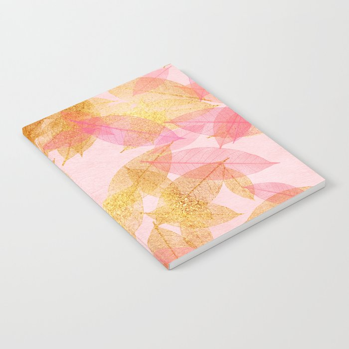 Autumn-world- gold leaves on pink Notebook