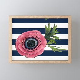 Watercolor Flowers with Nautical Stripes Framed Mini Art Print