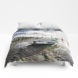 Boats stranded at low tide Comforters