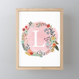 Flower Wreath with Personalized Monogram Initial Letter L on Pink Watercolor Paper Texture Artwork Framed Mini Art Print