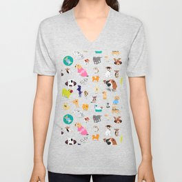 Pattern of dogs, adorable and friendly animal. Unisex V-Neck