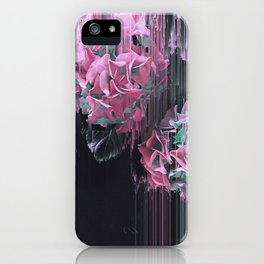 Glitch Pink Hydrangea iPhone Case