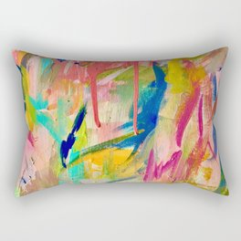 Wild Child: a colorful, vibrant abstract piece in neon and bold colors Rectangular Pillow