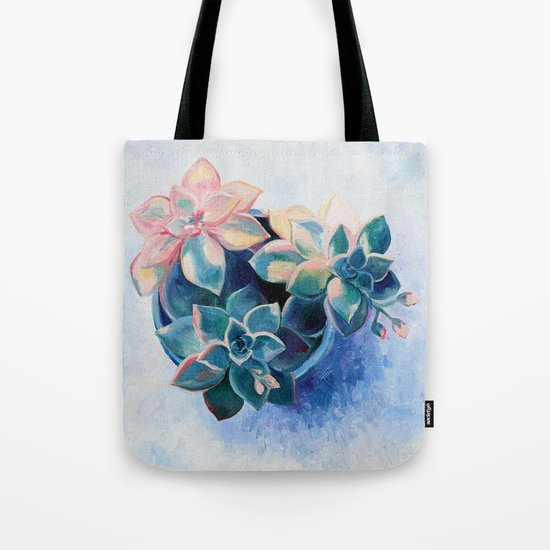 Pastel Succulents - an oil painting on canvas Tote Bag