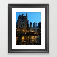 Chicago River and Buildings at Dusk Color Photo Framed Art Print