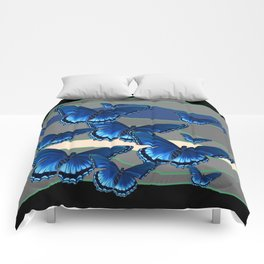 INDIGO BLUE BUTTERFLIES ON THE STORMY HORIZON Comforters
