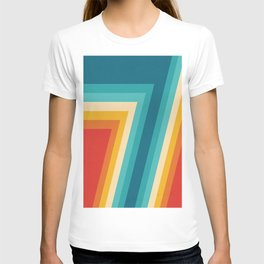 Colorful Retro Stripes  - 70s, 80s Abstract Design T-shirt