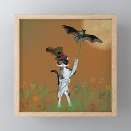Cat Walking His Bat Framed Mini Art Print