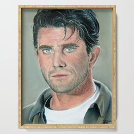 Mel Gibson portrait with dry pastels Serving Tray
