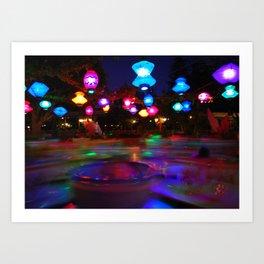 Teacups Blur at Night Art Print