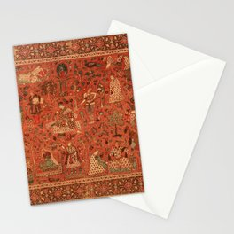 Red Indian Oriental Woven Rug Historic Textile Stationery Cards