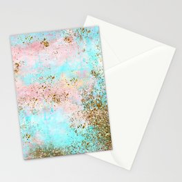 Pink and Gold Mermaid Sea Foam Glitter Stationery Cards