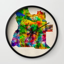 Angola Map in Watercolor Wall Clock
