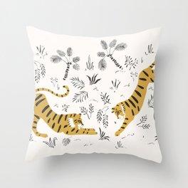 Tiger Dive Throw Pillow