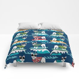 French Bulldog surfing pattern Comforters
