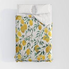 watercoor yellow lemon pattern Duvet Cover