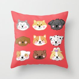 Nine Cute Dogs in Red Throw Pillow