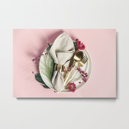Elegant table setting with floral decor Metal Print