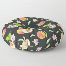 Peach fruit watercolor - Hand drawn ripe fruits Floor Pillow