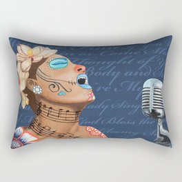 Billie Holiday Dia De Los Muertos Rectangular Pillow