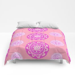 Salmon, Pink, and Purple Patterned Mandalas Comforters