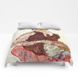 """Egon Schiele """"Lovers"""" Comforters"""