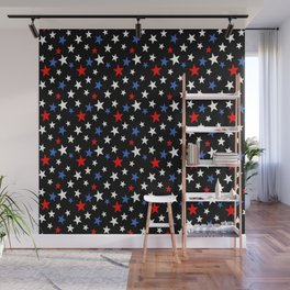 Bold Patriotic Stars In Red White and Blue on Black Wall Mural