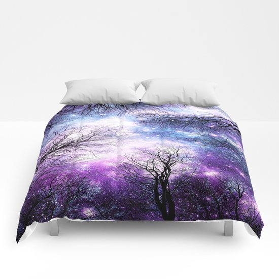 Black Trees Violet Purple Blue Space by vintageby2sweet