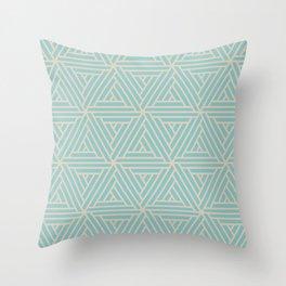 Aquamarine Beige Geometric Mosaic Pattern 2 V2 Pairs 2021 Color of the Year Aqua Fiesta & Sourdough Throw Pillow