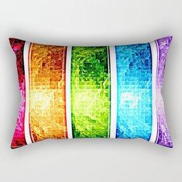 Rainbow Nebula Pixels Panel Art Rectangular Pillow