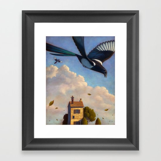 Watching magpies Framed Art Print