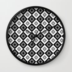 Gray White and Black Diamonds Wall Clock