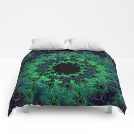 Dark Blue and Green Fractal Abstract Comforters