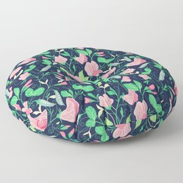 Pretty floral pattern. Sweet Pea. Floor Pillow