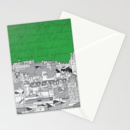 Edinburgh Skyline (Green) Stationery Cards