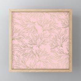 Elegant blush pink faux gold floral leaves Framed Mini Art Print