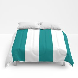 Wide Vertical Stripes - White and Dark Cyan Comforters