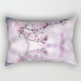Zen Style Cherry Blossom and Water Rectangular Pillow