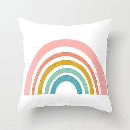 Simple Happy Rainbow Art Throw Pillow