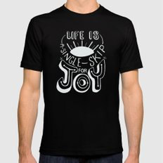 Life is A Single Skip for Joy Mens Fitted Tee Black MEDIUM