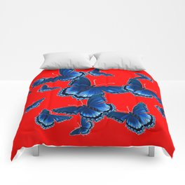 DECORATIVE CHINESE RED PATTERNED  BLUE BUTTERFLY FLOCK Comforters