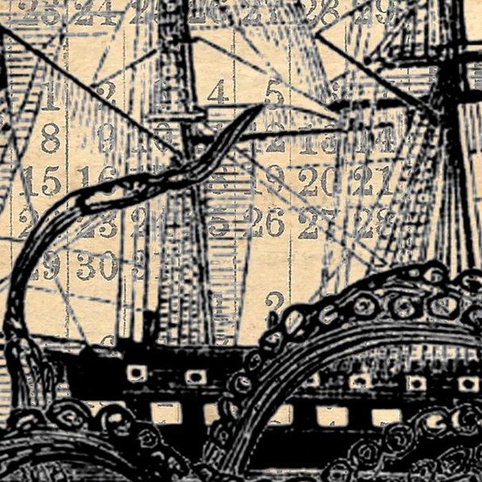 Octopus Kraken attacking Ship Antique Almanac Paper Leggings