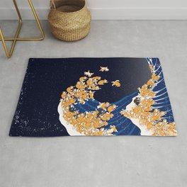 Shiba Inu The Great Wave in Night Rug