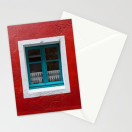 The blue window and the red wall Stationery Cards