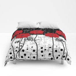 Applique Poppies on black and white background . Comforters