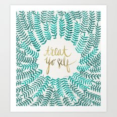 Treat Yo Self – Gold & Turquoise Art Print