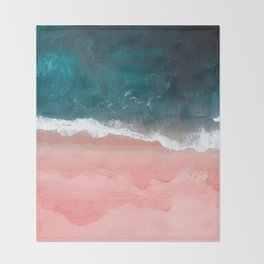 Turquoise Sea Pastel Beach III Throw Blanket
