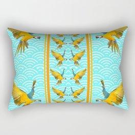 GOLD & BLUE TROPICAL MACAWS VERTICAL ART Rectangular Pillow
